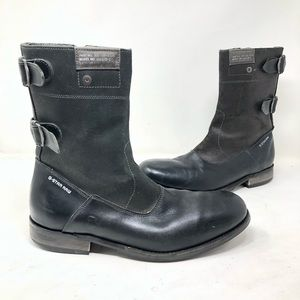 G-Star raw men black leather suede boots 10 A8
